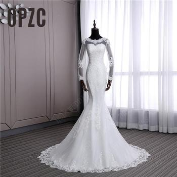 Illusion Sexy long sleeve Mermaid small Train Wedding Dress New Style Korean Lace Appliques Fishtail Bride estidos de noiva
