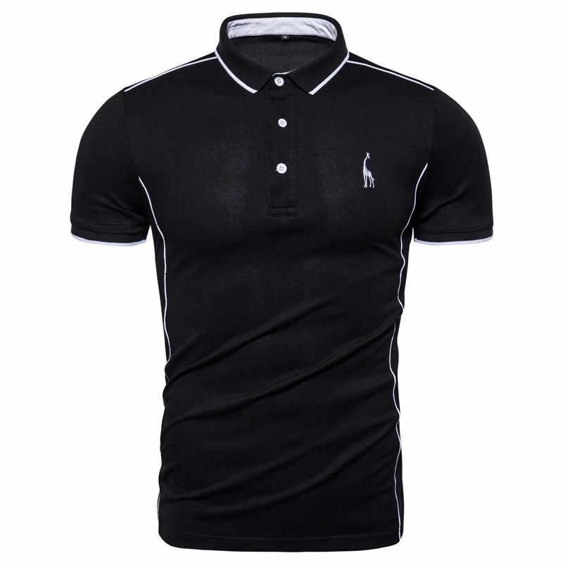 2020 neue Sommer Baumwolle POLO-Shirt Männer Drehen Unten Kragen Lässig Sozialen Stil Giraffe Marke Stickerei Herren Polos Männlichen Tops tees