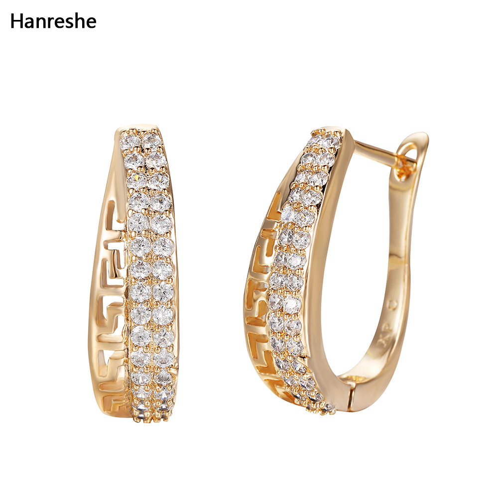 Hanreshe Copper Drop Earrings Geometric Pendant Aesthetic Earrings Vintage Jewelry Natural Zircon Charm Small Earring Women Gift