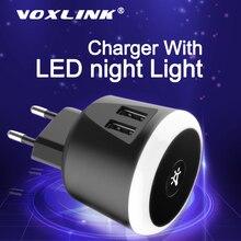 Voxlink 5V2. 4A Thông Minh Du Lịch Có Đèn Ngủ LED Sạc 2 Cổng USB Cho Iphone Samsung Xiaomi Du Lịch Củ Sạc Đa Năng