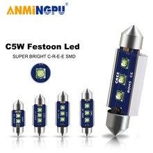 A lâmpada de sinal c10w c5w de anmingpu 2x conduziu canbus 31mm 36mm 39mm 41mm festão conduziu a luz interior da placa de licença do carro luz branca 12v