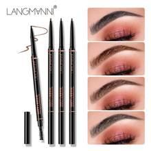 Langmanni 2020 novo duplo-cabeça girando automático sobrancelha lápis impermeável durável 1.5mm ultra-fino maquiagem de sobrancelha selvagem tslm1
