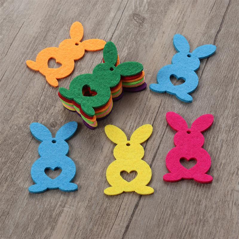 10pcs Easter Nonwoven Bunny Decor Cute Creative Felt DIY Pendant Bunny Decor For Gift Bag Clothing Easter Party Decoration