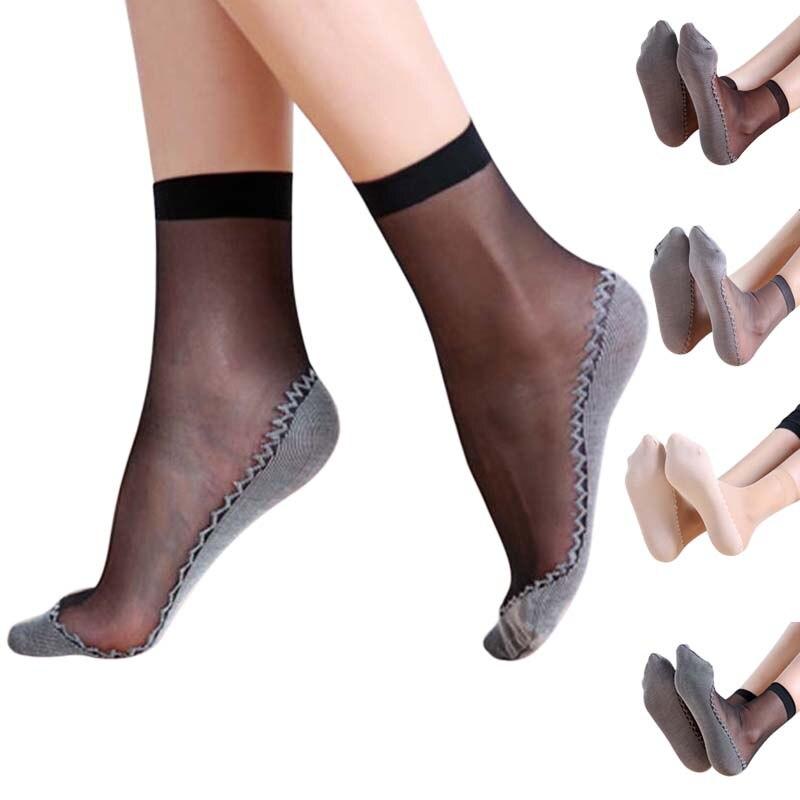 New 1Pair Spring Summer Women Soft Socks Casual Non-Slip Bottom Splice Fashion Transparent Ladies Girls Thin Silk Sock