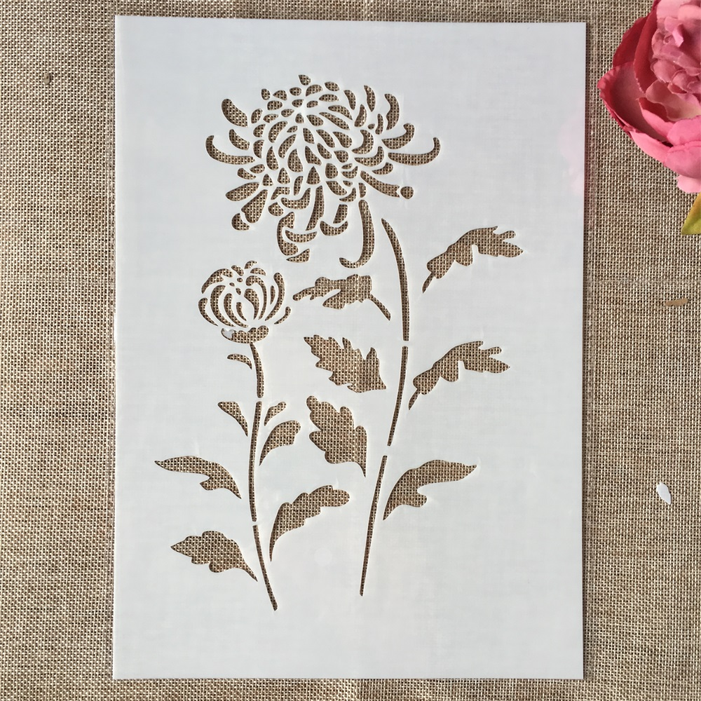 29cm A4 Rose Chrysanthemum DIY Layering Stencils Wall Painting Scrapbook Coloring Embossing Album Decorative Template
