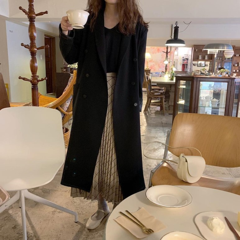 H0b10ae71a5174c0387e0cbc8538fc930f - Winter Revers Collar Double Breasted Loose Woolen Overcoat