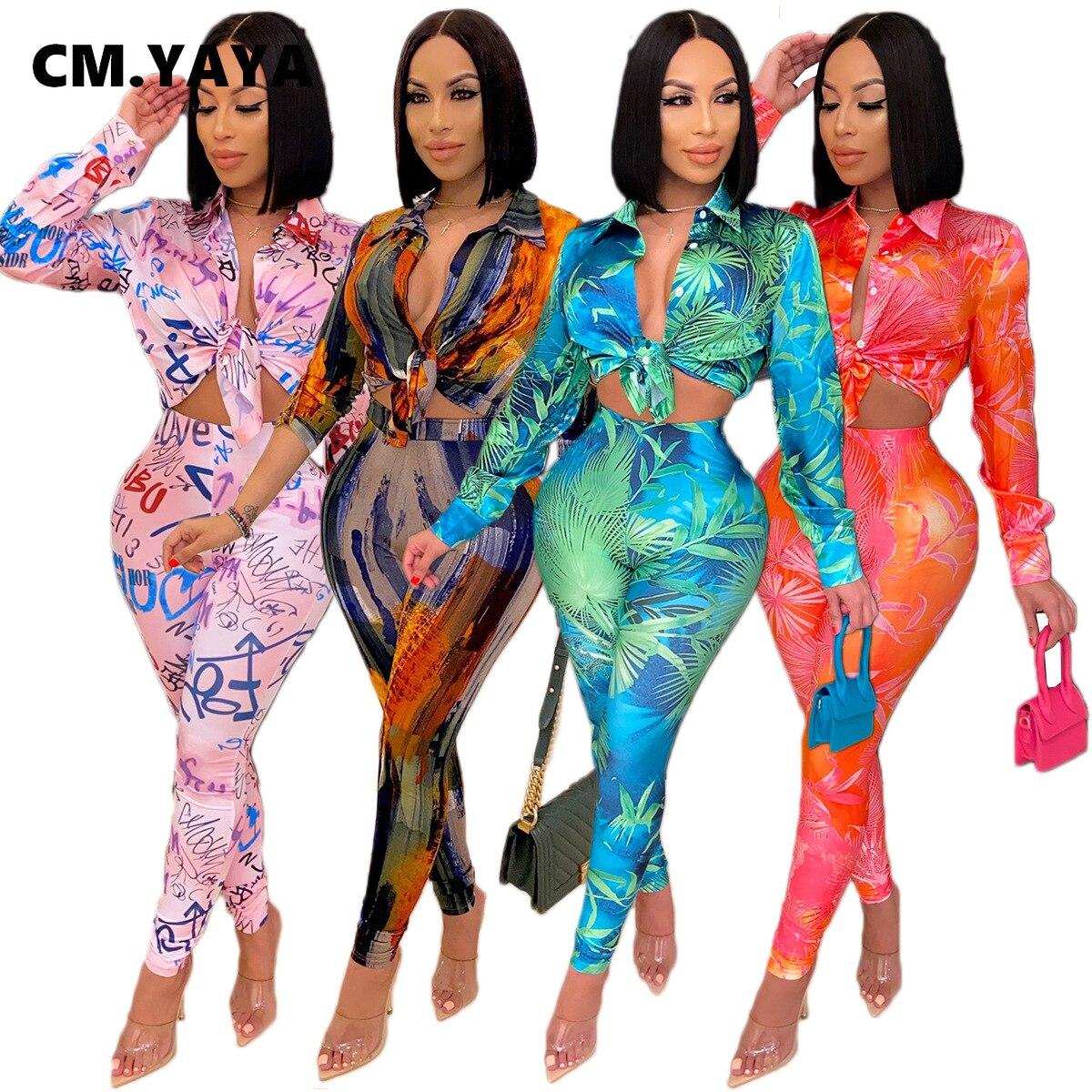 CM.YAYA jesień list liść drukuj zestaw damski bluzki koszula legginsy garnitur odzież sportowa dres dwuczęściowy zestaw strój Fitness