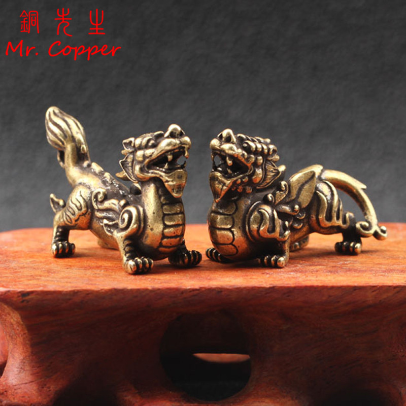Antique Copper Chinese Mythical Beast Pixiu Miniature Figurines 1 Pair Ornaments Brass Lucky Animal Qi Lin Desktop Decorations
