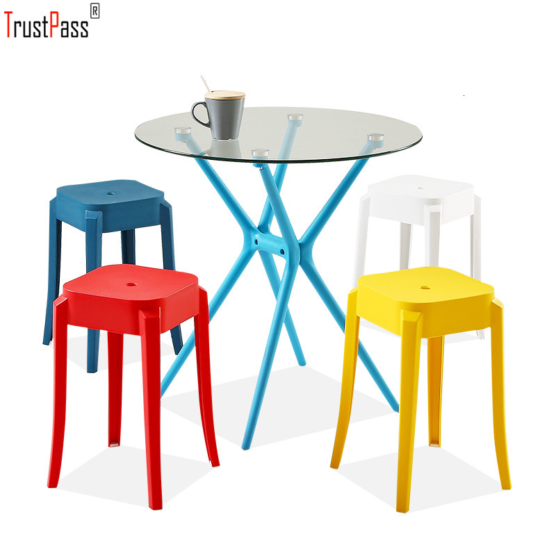 Dining Chair Concise Colour Fold Put Dining Chair Restaurant Square Stool Household High Foot Shoes Stool Plastic Stool