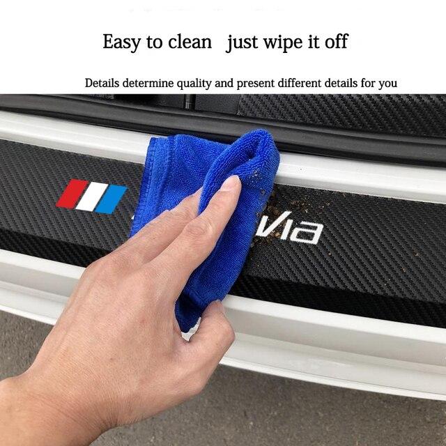 Nouvelle plaque de protection de coffre de pare-chocs arrière de voiture en Fiber de carbone autocollants en cuir protégés pour Skoda Octavia 2 3 MK2 MK3 A4 A5 A7 VRS RS
