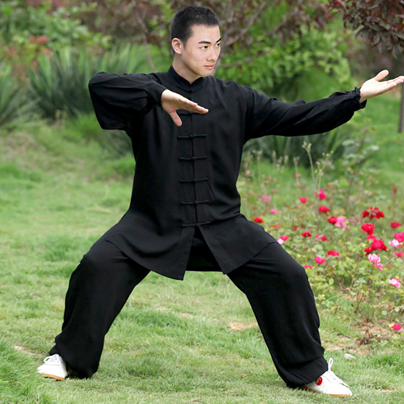 Zooboo Height 110cm-185cm Black White Noil Poplin KungFu TaiChi Suits Uniform Fitness Sets Man Woman