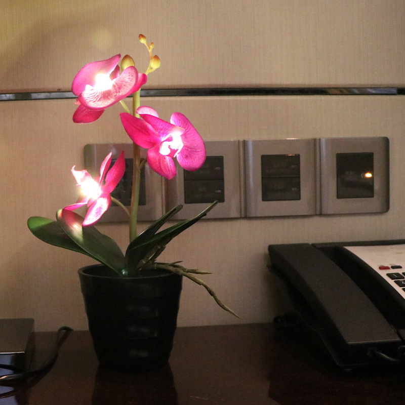 3 Led battery lighted Orchid Flower Bonsai with 2*AA Battery pot  Height  of 25cm 3 Orchid Flowers with buds 9 Colors available LED Table Lamps     - title=