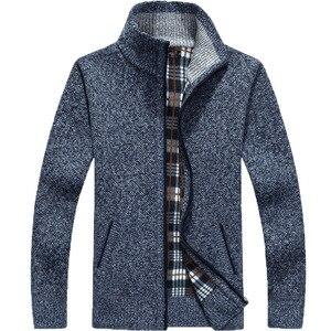 Image 2 - 2020 Autumn Winter Mens Sweater Coat Faux Fur Wool Sweater Jackets Men Zipper Knitted Thick Coat Warm Casual Knitwear Cardigan