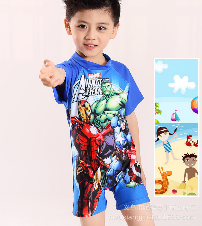 New Style KID'S Swimwear Boy One-piece Set Sun-resistant Quick-Dry Wetsuit A Generation Of Fat