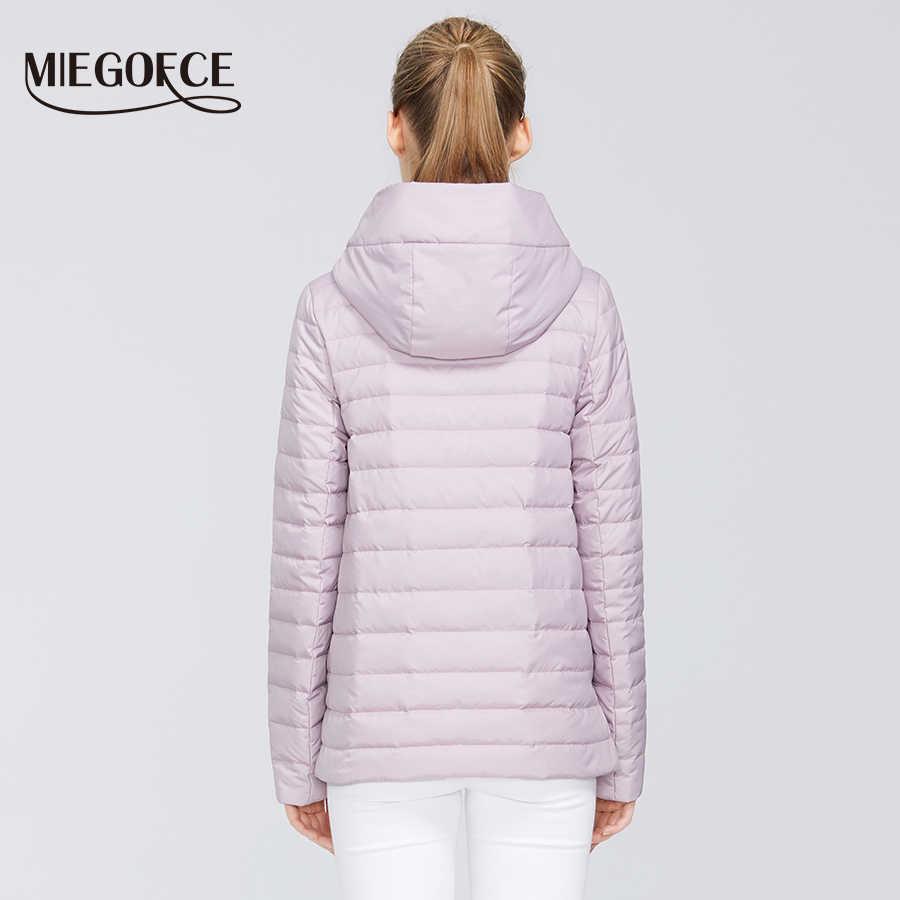 MIEGOFCE 2020 봄 여성 컬렉션 코튼 여성 봄 자켓 짧은 길이 내성 칼라 후드 스포츠 클래스 자켓