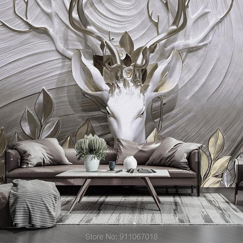 Nouveau personnalisé Muralembossment cerf soie tissu papier peint Mural 3d moderne Trompe l oeil papier Papel De Parede 3d pour salon | AliExpress