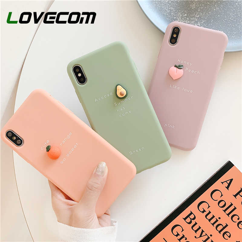 Lovecom 3D Buah untuk iPhone 11 Pro Max XR X Max 6 6 S 7 7 Plus X avocado & Peach & Orange Permen Lembut TPU Back Cover