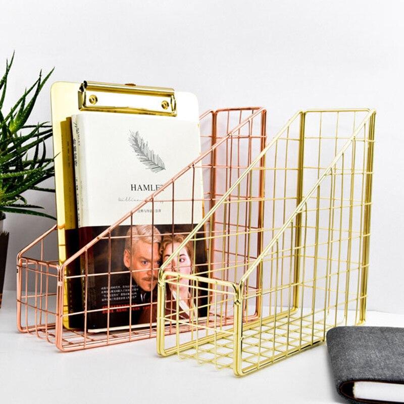 New Rose Gold Electroplated Iron Book Holder Desktop Shelf File Box Magazine Book Stand Office Home Stationery Organizer Holder