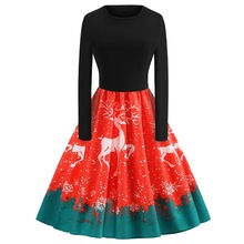 Christmas Elk Print Long Sleeve Woman Dress Halloween Costume Witch  Prom Party Women