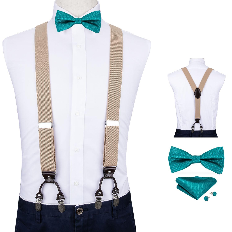 Men Khaki Suspender Genuine Leather 6 Clips Brace Male Vintage Wedding Butterfly Blue Bow Tie Hanky Cufflinks Set DiBanGu