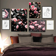 Pink Rose Flower Line Girl Quotes Wall Art Canvas Painting Nordic Posters And Prints Plant Pictures For Living Room Decor