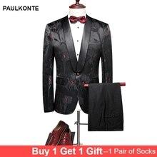 PAULKONTE Wedding Men Suits 2019 New Designs Gentleman Velvet Lapel Slim Fit Black Gold Flower Party Tuxedo Classic Mens Suit