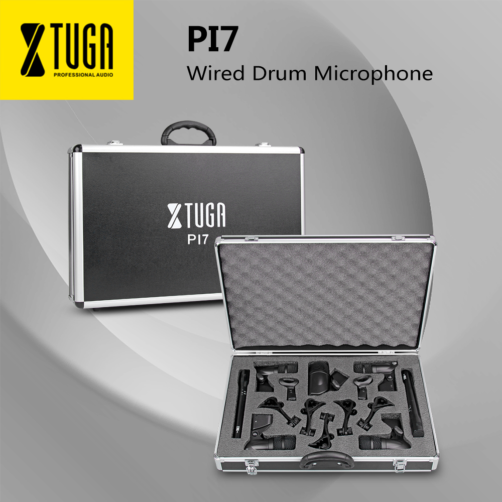 XTUGA PI7 7-Piece Wired Dynamic Drum Mic Kit (Metal And Plastic)- Kick Bass, Tom/Snare & Cymbals Microphone Set - Use For Drums