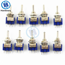 10Pcs 3 Pin Position ON-OFF-ON SPDT Mini Latching Toggle Switch AC 125V/6A 250V/3A