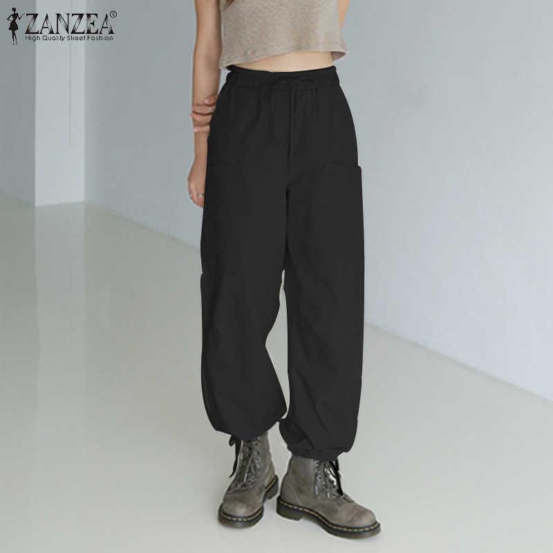 Zanzea 2020 Mode Vrouwen Casual Capri Broek Solid Elastische Taille Harembroek Overalls Lange Broek Streetwear Pantalones Femme