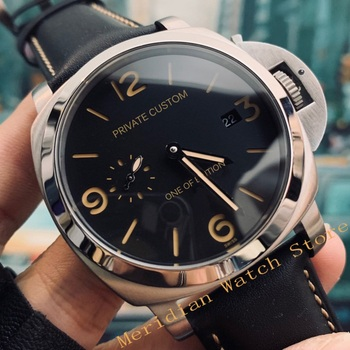44mm Men Automatic Mechanical Military Watch Silver Stainless Steel Leather Strap Clock Men's Waterproof Luminous Wristwatch full automatic mechanical man wristwatch waterproof steel band fashion calendar watch attached leather strap