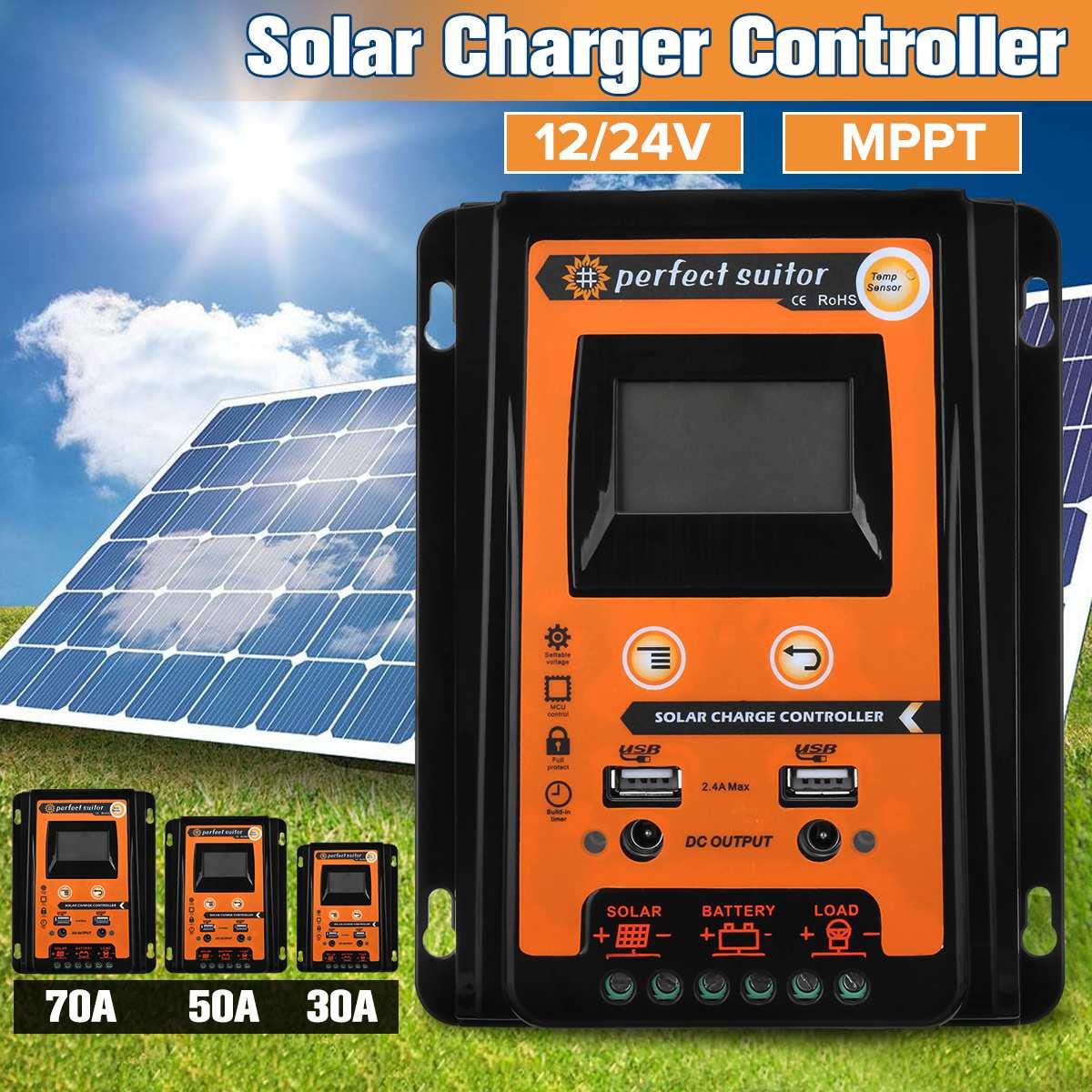 30A/50A/70A MPPT contrôleur de Charge solaire 12V 24V Auto LCD double USB régulateur de panneau de cellules solaires chargeur de batterie à la maison