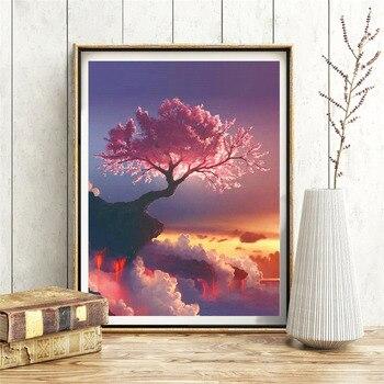 HUACAN Full Square 5D DIY Diamond Painting Sakura Tree Volcano Embroidery Cross Stitch Rhinestone Mosaic