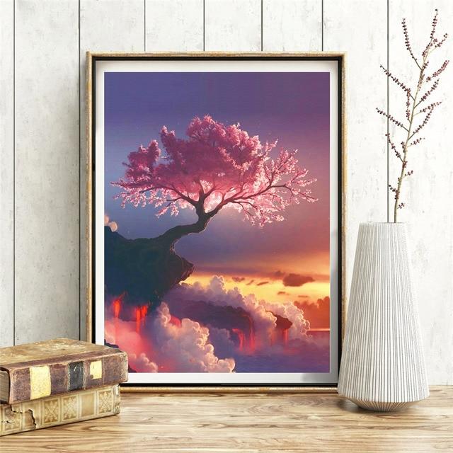 HUACAN Full Square 5D DIY Diamond Painting Sakura Tree Volcano Embroidery Cross Stitch Rhinestone Mosaic Painting