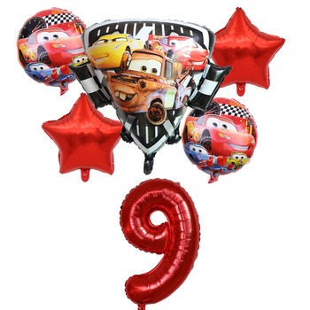 6pcs Disney McQueen Birthday Balloons Baby Party Decorations Supplies 18 inch Round Car Foil Ballons Children Toys Baby Shower image