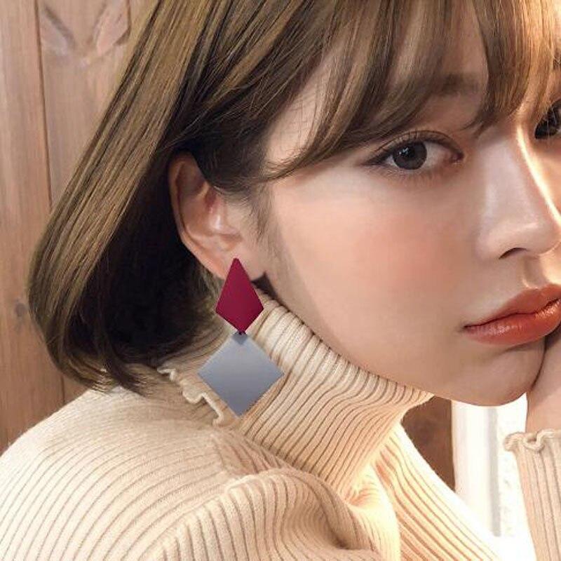 Fashion Geometric Long Earring Vintage Triangle Irregular Ear Stud Acrylic Earrings for Women Ladies Party Jewelry Gift in Drop Earrings from Jewelry Accessories
