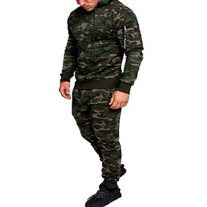 JODIMITTY 2020 Men Fashion Soild Camouflage Jackets+Pants Set Male Tracksuit Outdoors Suit Men's Gyms Suit Set Casual Sportswear