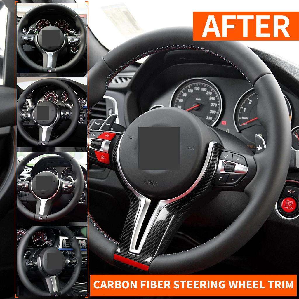 Car Styling Carbon Fiber Steering Wheel Trim Cover <font><b>Sticker</b></font> For BMW F20 F30 <font><b>F10</b></font> F12 X5 F15 X6 F16 M2 M3 M4 M5 M6 F80 F82 X5M X6M image