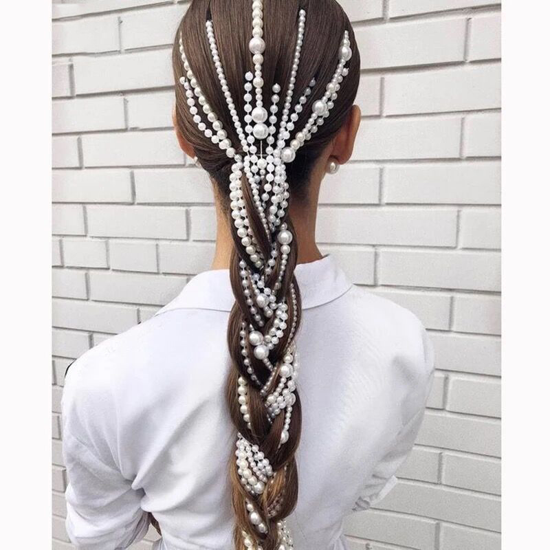 New Bridal Pearl Chain Hairpins For Women Long Tassel Handmade Hair Clip Pin Women's Hair Jewelry Styling Accessories Ornaments