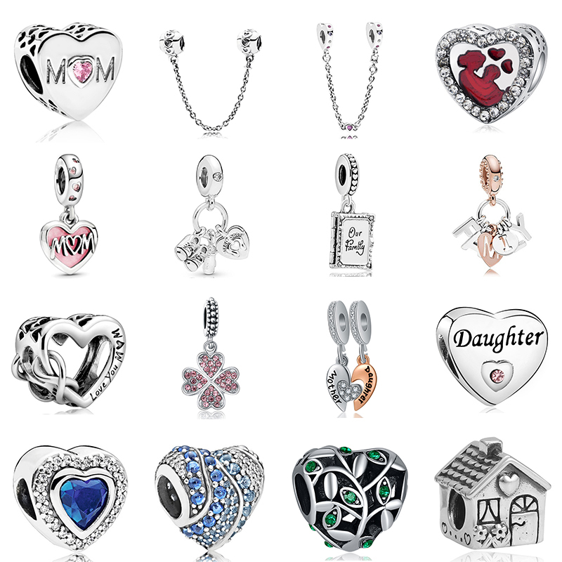 2020 New Original Alloy Bead Family Mother Dad Love Heart Pendant Charm Fit Dropship Bracelet Bangle Necklace DIY Women Jewelry(China)