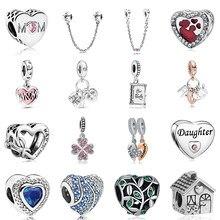 Nova liga original grânulo família mãe pai amor coração pingente charme apto pan pulseira colar dropship diy jóias femininas