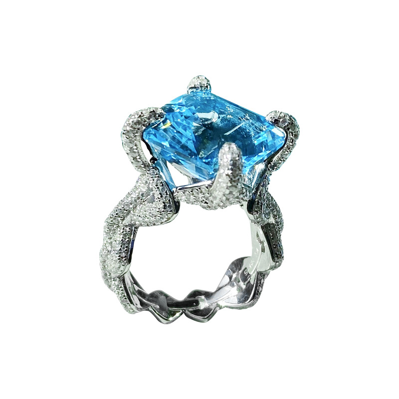 Europe America Fashion Jewelry Inlay Square Blue AAA Zircon Geometry Chain Rings For Women Wedding Party Luxury Birthday Gift