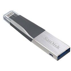 Movimentação do flash 32 gb 64 gb 128 gb da pena de sandisk usb3.0 otg relâmpago à vara da memória do disco do metal 64 gb 128 gb u para o iphone ipad ipod