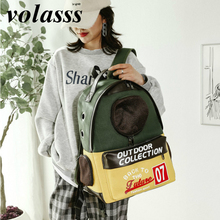 Volasss Fashion Cat Backpack Breathable Space Bag 2021 New Canvas Pet Kittens Puppies Backpacks Large Capacity Portable Handbag