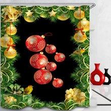 Рождественская занавеска для душа и счастливая новогодняя елка