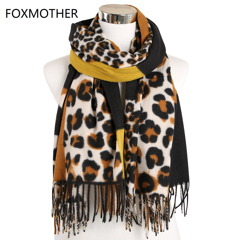 FOXMOTHER New Women Shawl   Wrap   With Tassel Animal Leopard Print Cashmere Pashmina   Scarf   2019 Winter Foulard Femme