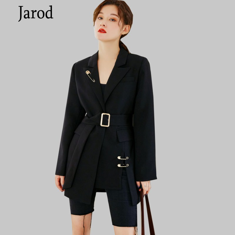 New 2020 Spring Fall Women Black Jackets Women Long Jacket Black Suit Long Sleeve  Notched Collar Sashes OL Outwear Women