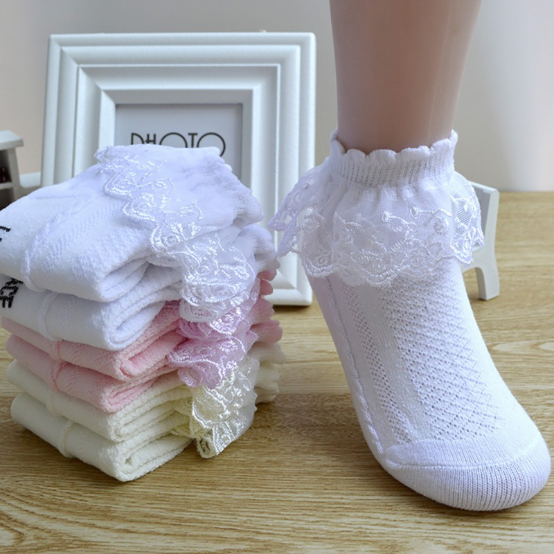4 Colors Girls Socks With Lace Kid Toddlers Girls Summer Short Socks One Pair Layered Dance Sock