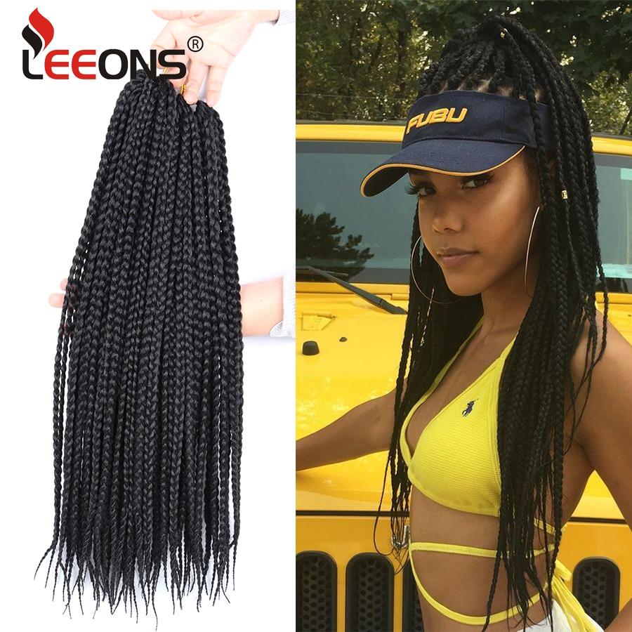 Leeons-trenzas de ganchillo con caja de ganchillo para mujer, extensión de cabello de ganchillo Kanekalon de 30 pulgadas