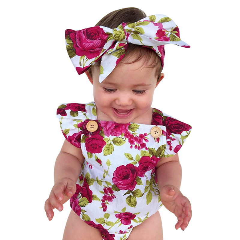 Floral Print Ruffles Romper 2pcs Baby Girl Clothes Jumpsuit Romper+Headband Infant Toddler Newborn Outfits Set 0-24M