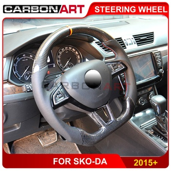 High quality Carbon fiber Steering wheel for skoda octavia a7 a5 real carbon interior 2015 2017